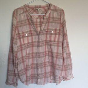 Joie 100% cotton plaid button Front shirt.